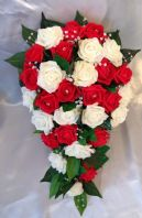 ARTIFICIAL FLOWERS IVORY/RED FOAM ROSE BRIDE WEDDING SHOWER TEARDROP BOUQUET